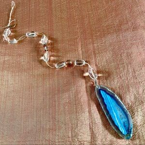 NEW Sun Catcher Blue Agate + Clear Quartz Crystal